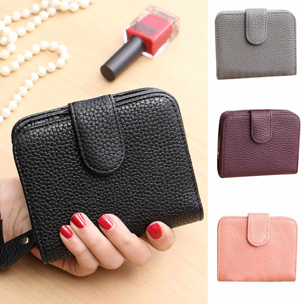 Fashion Lady Wild Short Lychee Pattern Solid Color Card Bag Purse Clutch Bag Small Wallet Credit Card Holder Mini Purse Pouch