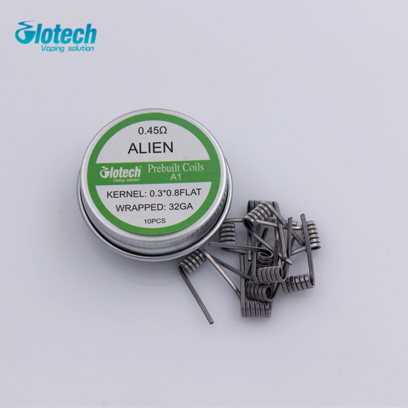 Glotech 50box Alien Tiger Fused Clapton Premade Coils Flat Twisted Mix Twisted HIVE Quad Prebuilt Coil For RDA RBA DIY Atomizer