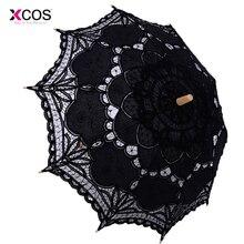 Винтажный Викторианский Черный Кружевной ручной открытый Свадебный зонтик для невесты для свадебной вечеринки зонтик