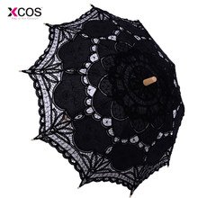 Vintage Victorian Black Lace Manual Opening Wedding Umbrella Bride Parasol For Wedding Bridal Shower Umbrella Free Shipping(China)