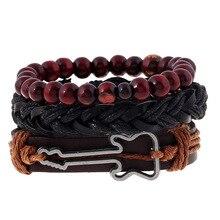 Fashion Jewelry Men's Bracelets Set Alloy Guitar Hemp Rope Woven PU Leather Beaded Bracelet Casual Vintage Punk Bracelet B1399