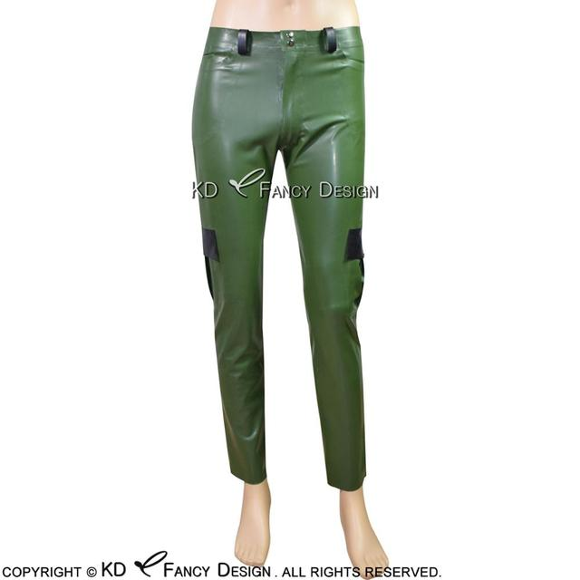 Army Green With Black Sexy Latex Cargo Pants With Patch Pockets Rubber Leggings Trousers Bottoms CK-0039