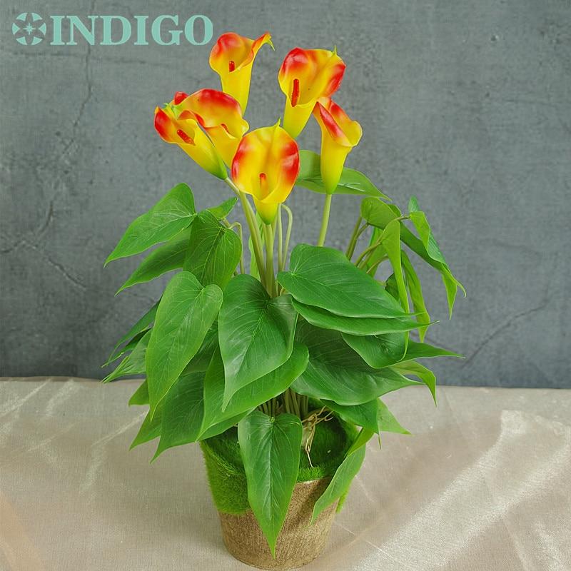 INDIGO- Sunset Calla šopek (18pcs listi + 3pcs rože + korenine) dotik cvetlični Calla poročni cvetlični cvet brezplačna dostava