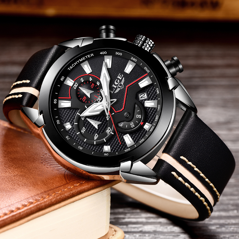 New LIGE luxury brand watch men fashion casual sport quartz wristwatch leather waterproof men;s watches clock Relogios Masculino цена и фото