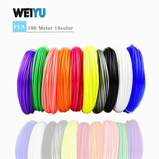 3D pen filament PLA/ABS filament Multi-colors 100 m/200 m plastic spools filament 1.75 mm DIY 3D printer impressora 3D filamento