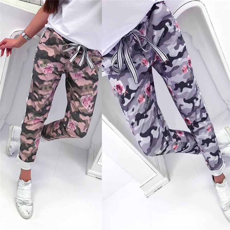 Fashion Womens Pants 2018 New Arrival Comfortable Sequins Camouflage Print Bandage Patchwork Mid Waist Long Pants Trousers F#J12 (7)