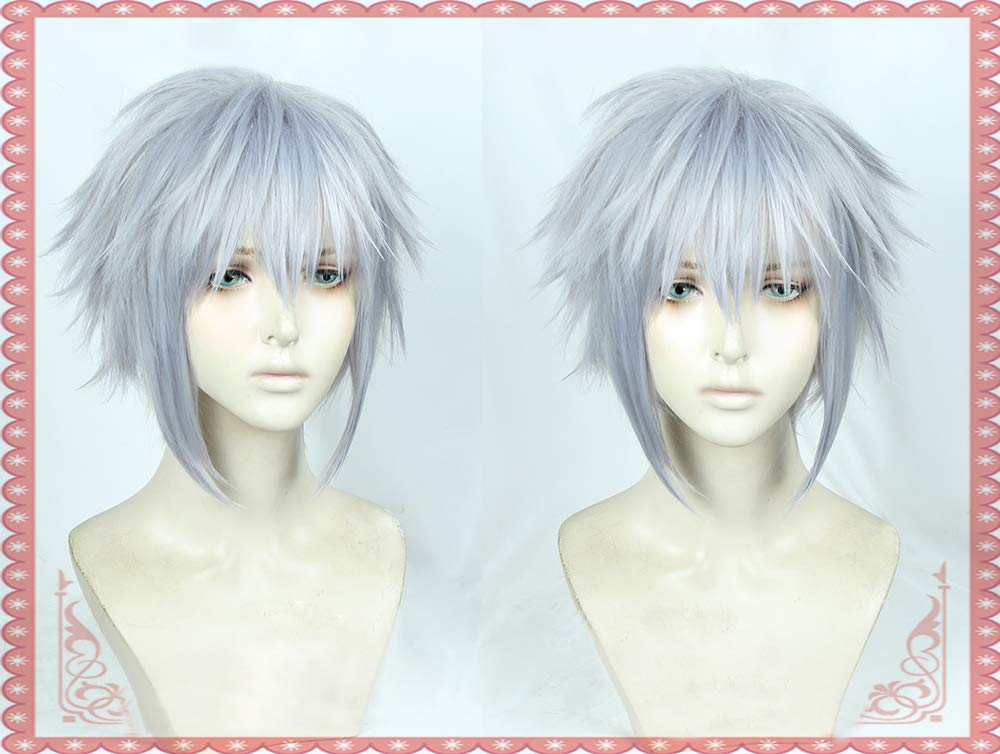 Image 2 - Game Kingdom Hearts III Riku Short Grey Mixed Color Wig Heat Resistant Synthetic Hair Cosplay Costume Wigs + Free Wig CapAnime Costumes   -