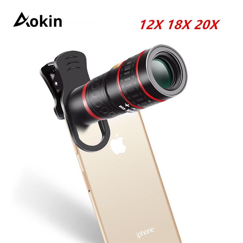 Aokin Lente Do Telefone Móvel Universal Clipe 18X 20X Zoom Telemóvel Telescópio Lente Telefoto Lente Da Câmera do Smartphone Para o iphone Xiaomi