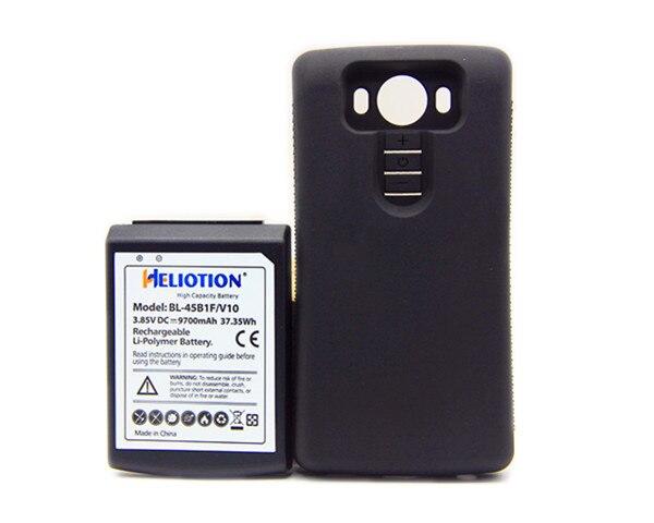 BL-45B1F 9700 mAh Batterie Étendue avec Protection TPU Noir étui pour lg V10 VS990 Batterie de Téléphone Portable De Remplacement
