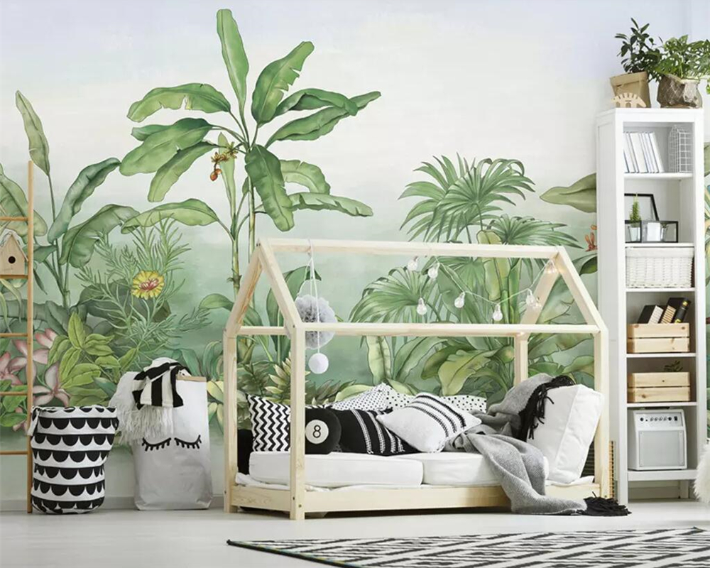 Beibehang Wallpaper Hand Drawn Plantain Tree Tropical Rainforest Plant Living Room Bedroom Mural Tv Background Wall 3d Wallpaper