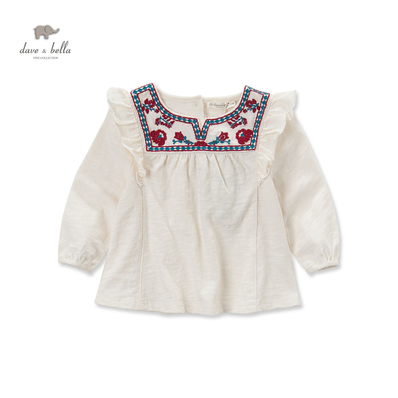DB3654 dave bella  autumn baby girl  embroidery dress infant clothes girls apricot blouses sweet dress baby birthday dress db3943 dave bella autumn baby girl pink dress infant clothes girls lace dress baby lantern sleeve birthday dress