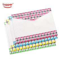 TOPPER 4pcs/set  A4/FC size transparent printed Plastic document bag  Folders Filing Paper Storage Office School Supplies
