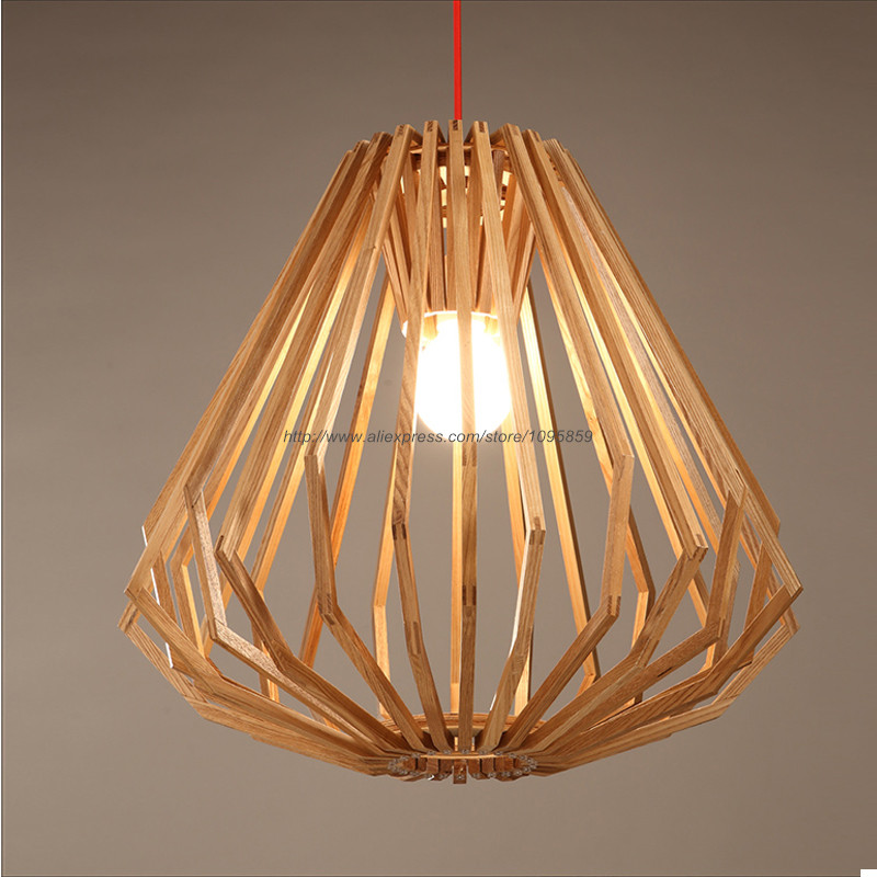 Wood Lighting Fixtures: Modern Nordic Style Wooden Diamond Pendant Light Lamp Wood
