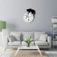 TiTa Dong 3D Home Decor Acrylic Wall Clock Cat On The Fish Tank Fish Paw Design