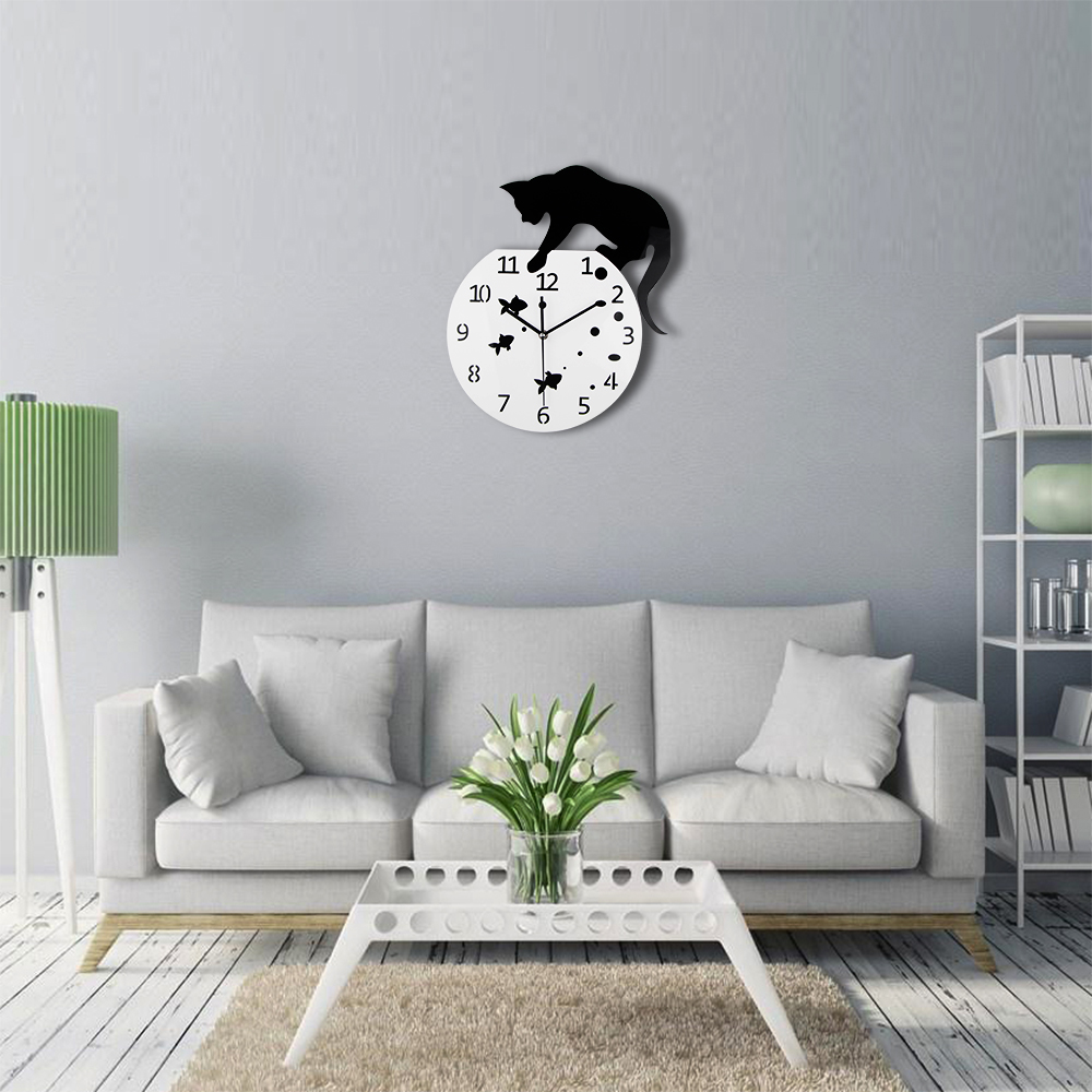 TiTa Dong 3D Home Decor Acrylic Wall Clock Cat On The Fish Tank Fish ...