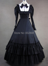 Vintage Victorian Gothic Black Dress With Long Sleeves Party Dresses