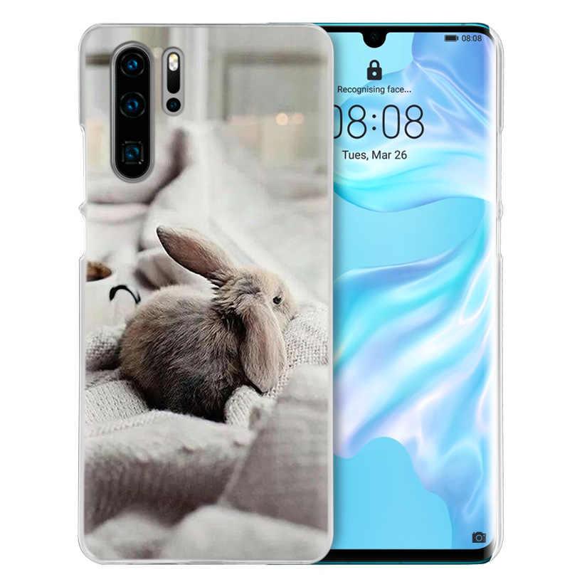 Lucu Putih Bayi Kelinci untuk Huawei P20 P30 P40 Lite E P Smart Z Plus 2019 P10 Mate 10 20 Pro Keras Handphone Sac Hewan