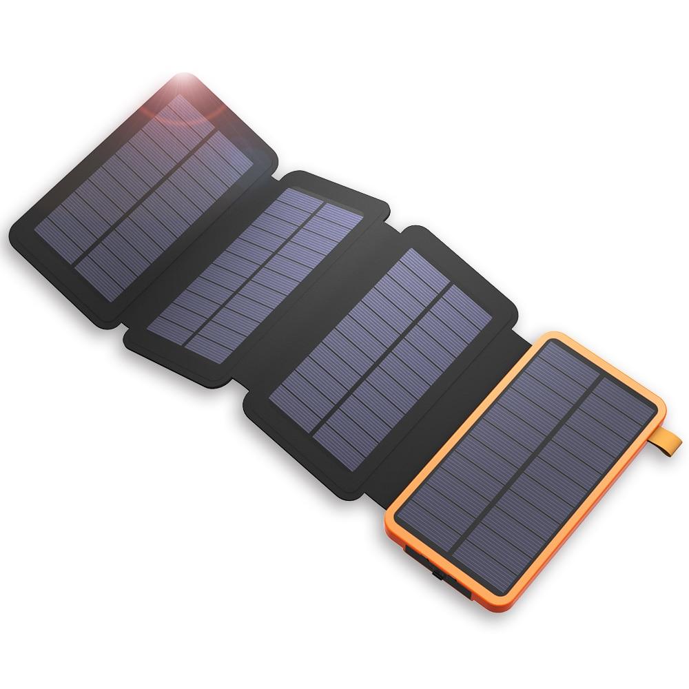 20000 mAh batterie externe chargeur de batterie externe solaire pour iPhone Samsung Huawei Smartphones Xiaomi Camping en plein air