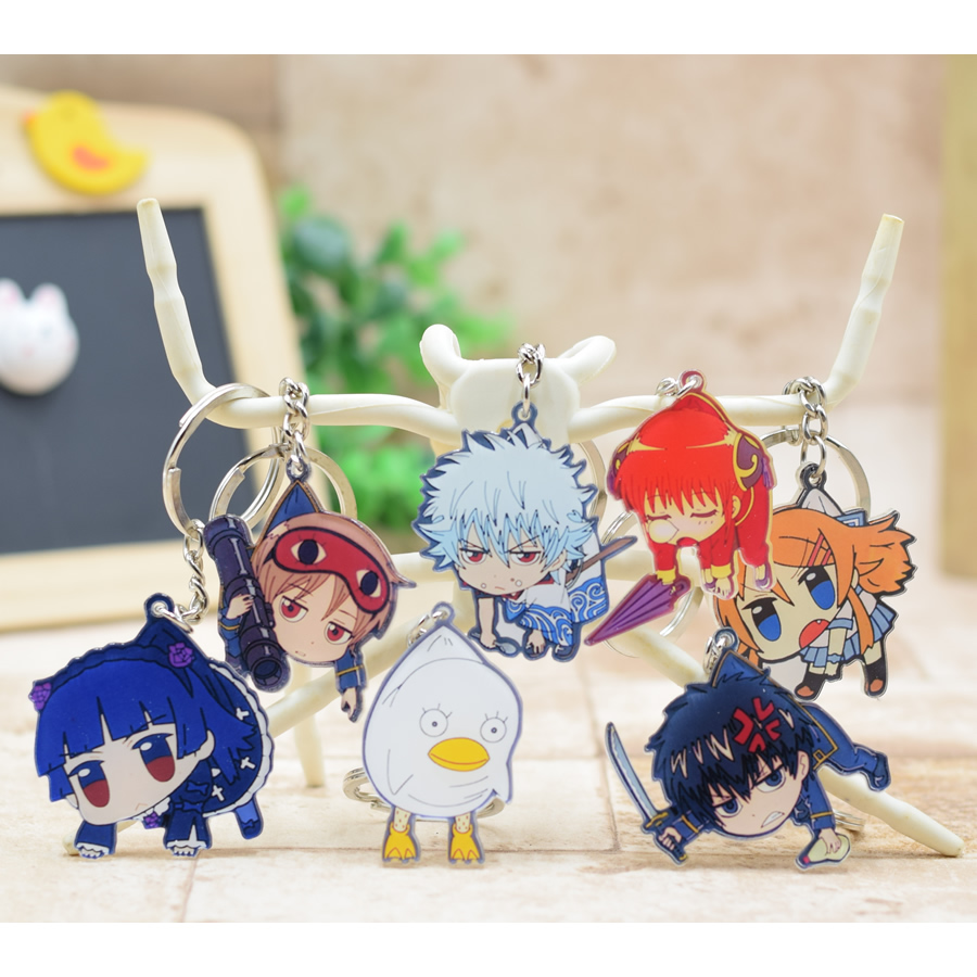 Gintama acrylic Keychain Pendant Car Key Chain Key Accessories Cute Japanese Cartoon Collections 7 Styles YH003 LTX1 all characters tracer reaper widowmaker action figure ow game keychain pendant key accessories ltx1