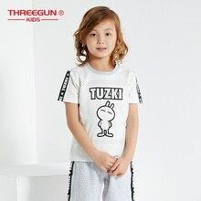THREEGUN X Tuzki Bunny Pajamas Sets Boy Kids Rabbit Cartoon Cotton Summer Clothes Short Sleeve Sleepwear