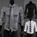 Envío Libre 2016 Caliente Camisas de Los Hombres, Camisas de vestir de Los Hombres Ocasionales de Los Hombres Con Estilo Apto Camisas de manga larga tamaño M-XXL 10 colores 30