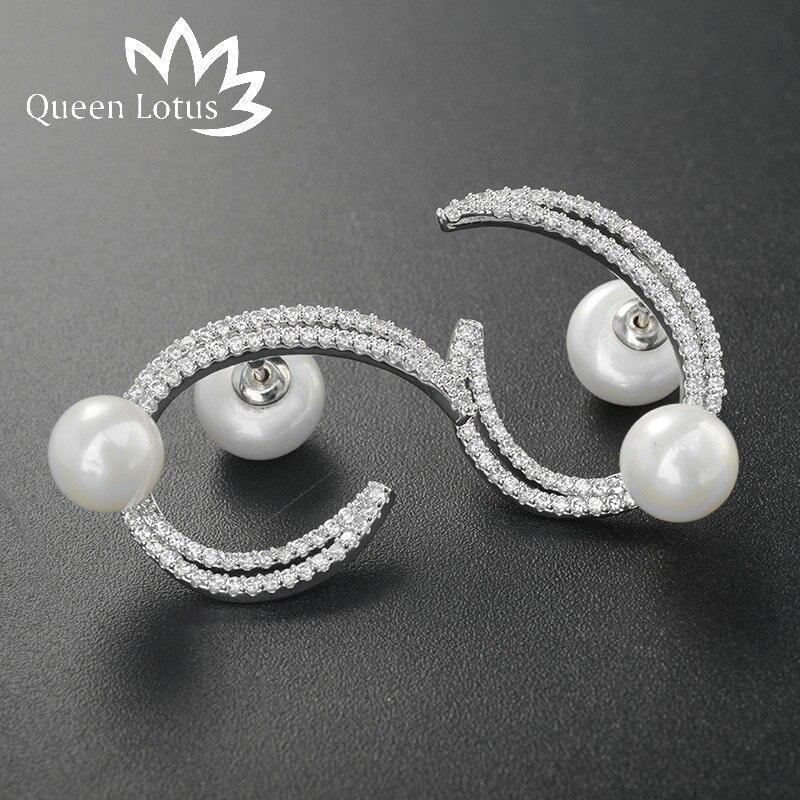 Queen Lotus высокое качество с серебряным покрытием украшения в форме полумесяца Очаровательная clove сцепного устройства циркон жемчужные серьг... ...