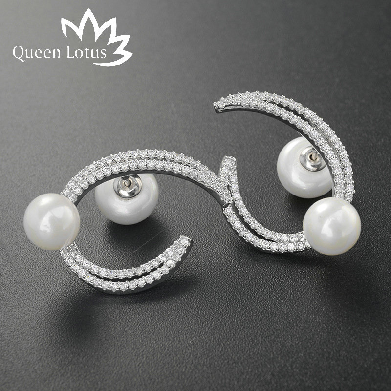 Queen Lotus High quality silver plated jewelry Crescent-shaped charming clove hitch zircon pearl earrings for women fine jewelry