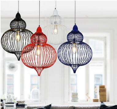 European creative iron bird cage pendent lamp loft vintage lights for dining room bar resturant  decoration A011 new arrival vintage iron and concrete pendent lights retro loft lamps for dining room bar creative decor lights n1258