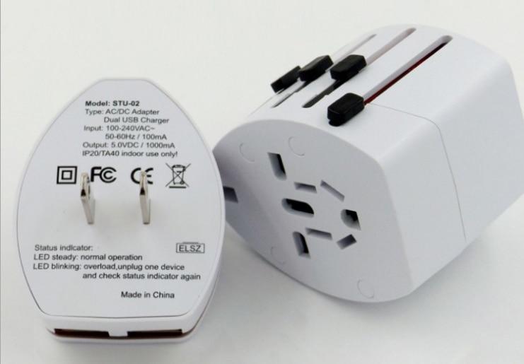 Globale conversione spina Multifunzionale Dual usb caricabatterie da viaggio
