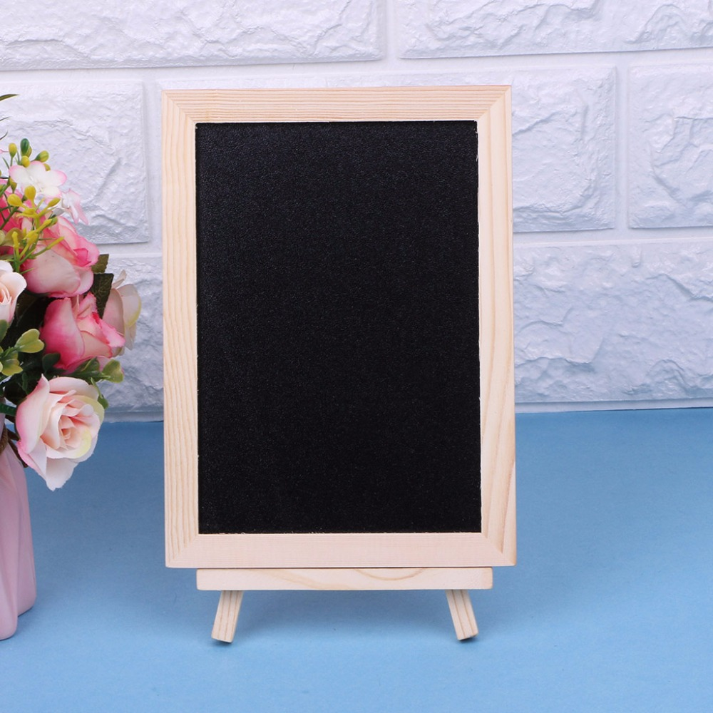 New 18x13cm Wood Tabletop Chalkboard Double Sided Blackboard Message Board Children Kids Writing Black Boards Toy C26