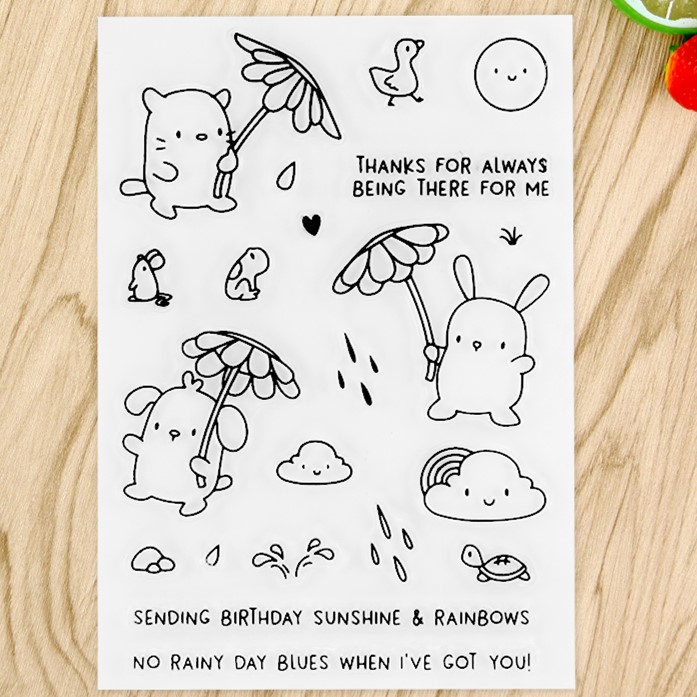 Rainbow Rain Transparent Clear Silicone Stamp/Seal for DIY scrapbooking/photo album Decorative clear stamp sheets A543 lovely animals and ballon design transparent clear silicone stamp for diy scrapbooking photo album clear stamp cl 278