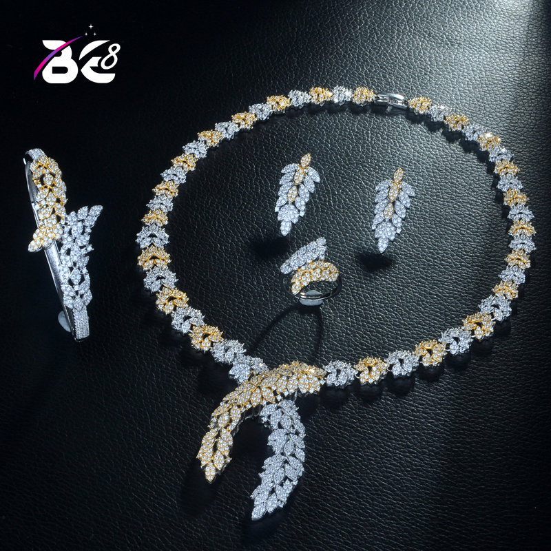 Be 8 Beauty 2 Tones Flower Shape CZ Wedding Bridal Jewelry Sets for Wedding Accessories Nigeria Jewelry Necklace Bangle Set S307Be 8 Beauty 2 Tones Flower Shape CZ Wedding Bridal Jewelry Sets for Wedding Accessories Nigeria Jewelry Necklace Bangle Set S307