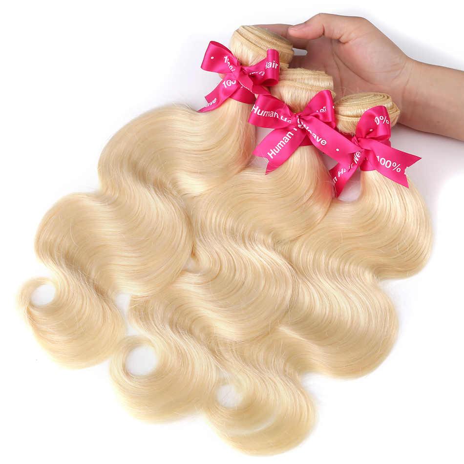 Luvin brazylijski Remy włosy ciało fala 1 3 4 zestawy 613 włosy blond unprocess ludzkie włosy splot wiązki przedłużanie włosów 30 cali