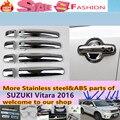 Envío libre para SUZUK1 Vitara 2016 diseño de la carrocería del coche cubierta detector de interior palos marco ABS manija de puerta del cromo de la lámpara del ajuste 4 unids