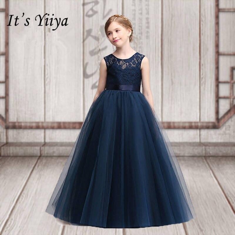 It's yiiya High Grade Simple Lace   Girl     Dresses   Fashion Sleeveless O-neck Fllor-length   Flowers     Girls     Dress   TYL005