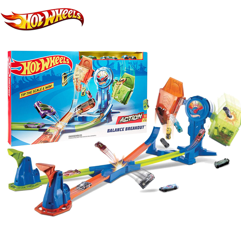 2019 Hot Wheels Sport Car Track Toys Balance Breakout Set Multi-Colour Racing Kids Playset FRH34 Double Road For Children Gift