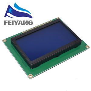 Image 1 - 10pcs 128*64 DOTS LCD module 5V blue screen 12864 LCD with backlight ST7920 Parallel port LCD12864