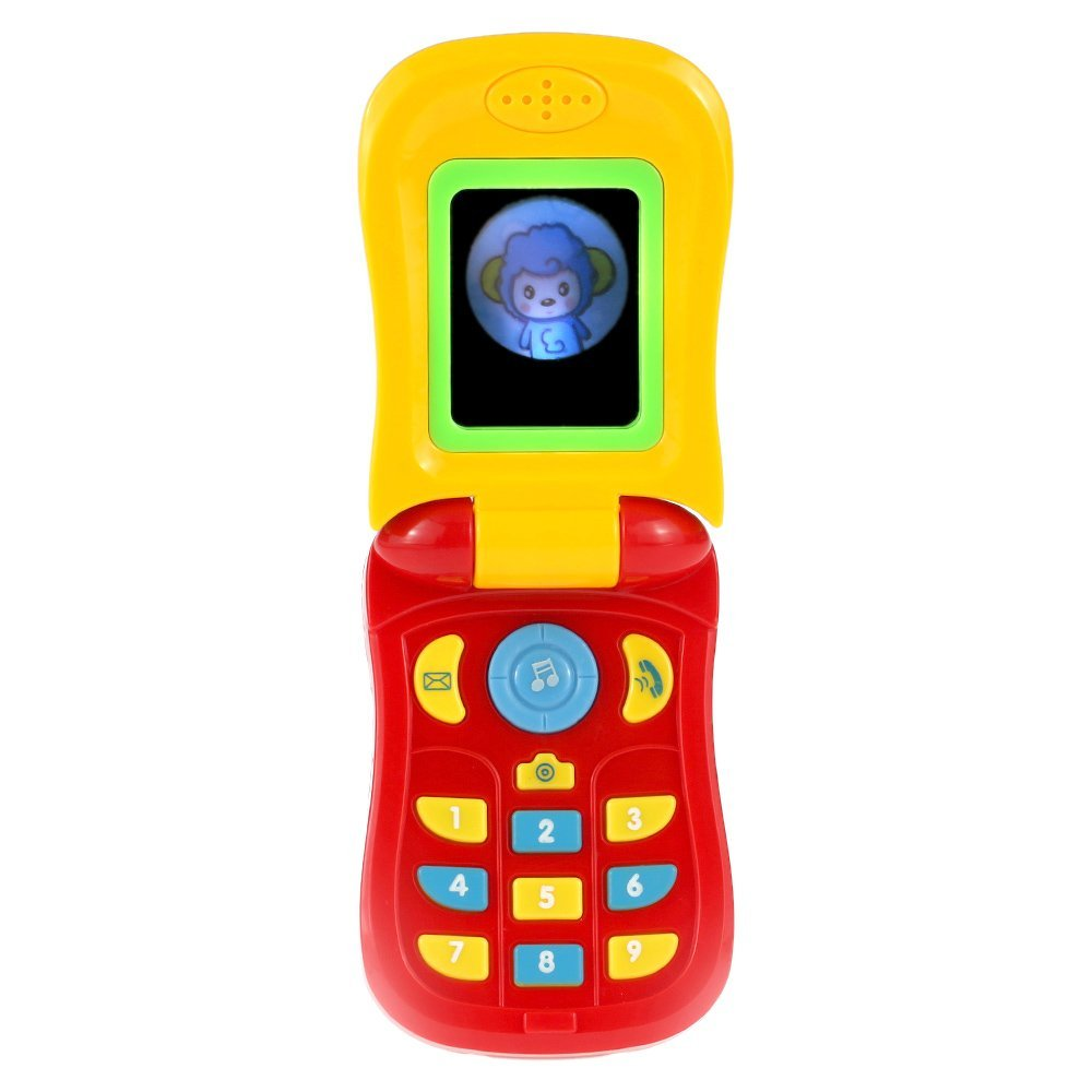EBOYU(TM) Baby Music Cellular Phone Toy Flip Diary Case Cover Musical Cellphone Intellecture Enlightment Toy Lights And A Mirror