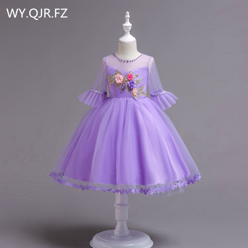 BH726#Ball Gown purple   Flower     Girl     Dresses   European American short-sleeved embroidered children's princess   dress   2018 wholesale
