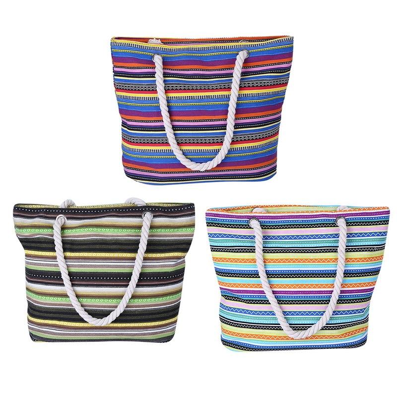 NIBESSER Summer Women Canvas Boho Style Striped Shoulder Bag Female Casual Tote Shopper Beach Bag Floral Messenger Bags Designer