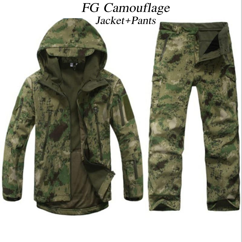 Outdoor Hunting CS Wargame TAD Gear Soft Shell Camouflage Jacket Set Army Sport Waterproof Uniform Military Clothes Jacket Pants