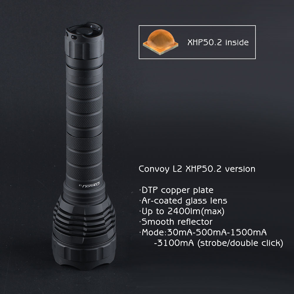Black Convoy L2 CREE XHP50.2 LED, DTP copper plate, ar-coated glass lens, 2400lm executive car