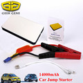 GeekGene Ультра тонкий Автомобиль Скачок Стартер 12 В 14000 мАч Автомобильное Зарядное Портативный Банк силы USB Автомобильное Зарядное Устройство Многофункциональный Телефон ноутбук LED