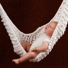 Hot Sale Portable Crochet Hammock Home Photography Props Knitted Newborn Infant Costume Toddler Indoor Parachute Hammocks Gadget(China)