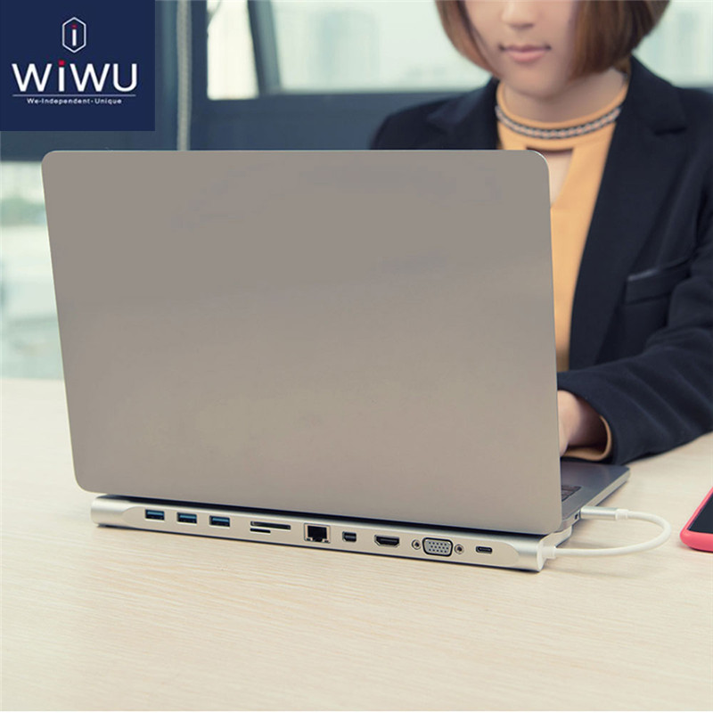 WIWU USB Multi-function 11 in 1 Type-C Docking Station for MacBook Aluminum USB 3.0 to HDMI/VGA Universal Docking for Dell