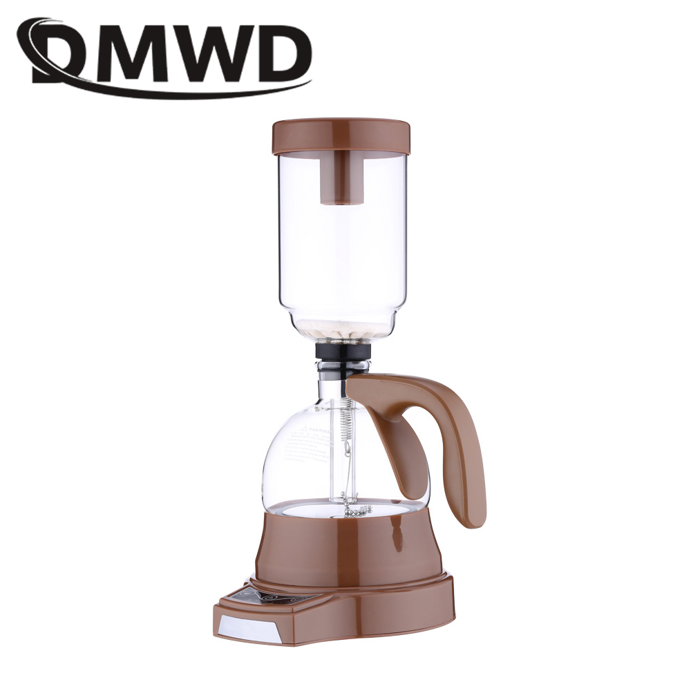 DMWD Electric Japanese Style Siphon coffee maker 3 cups vacuum Coffee machine Brewer Drip Tea Siphon Glass Pot filter EU US plug недорого