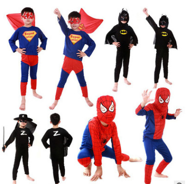 Halloween Kids Child Superhero Costume Jumpsuit Mask Batman Spider Man Superman Zorro Cosplay Costume Clothing Set Pajamas