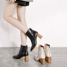 купить 2018 VALLU Winter Boot Shoes Women Ankle Warm Boots Genuine Leather Square Toes Zipper High Heel Ladies Boots White/Black дешево