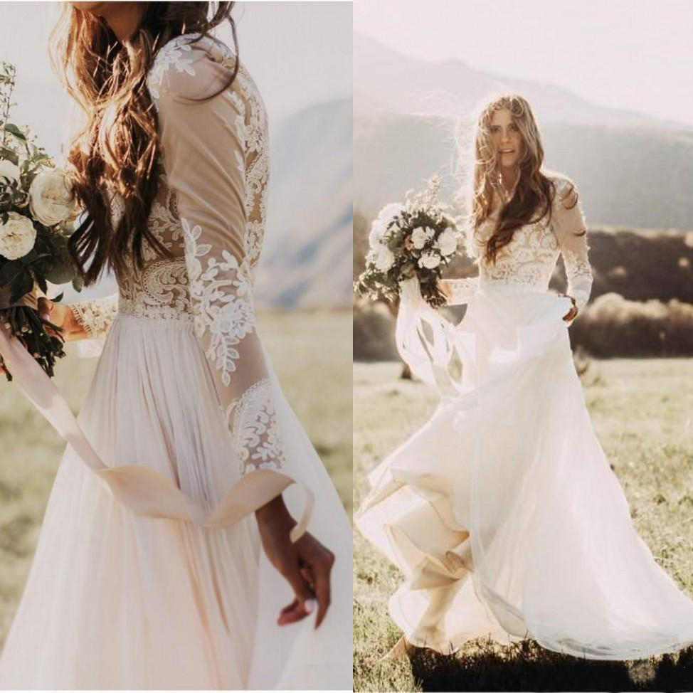 Simple Bohemian Beach Wedding Dresses Country Long Sleeves Bridal