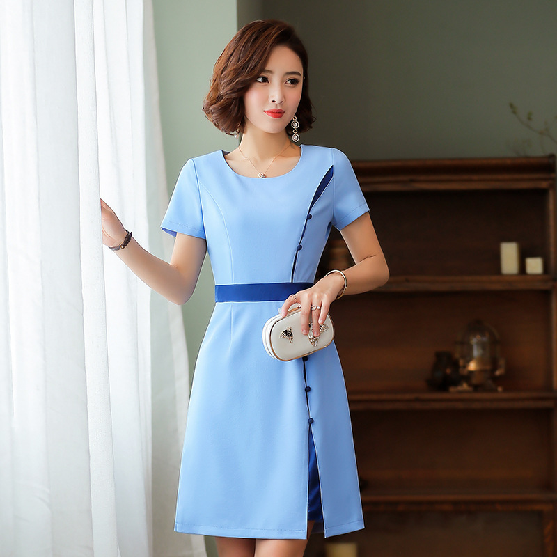 Plus la Taille Robe Femmes Splice OL tempérament Robe O Cou à Manches courtes Élégant Slim A-ligne Robe 2019 d'été S-4XL bleu /rose - 5